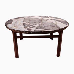 Tavolino da caffè grande in pietra e palissandro, anni '60