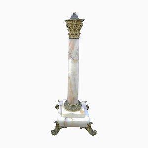 Lámpara de mesa francesa en forma de columna de mármol y bronce dorado, siglo XIX
