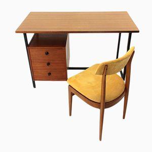 Scrivania Mid-Century in metallo con sedia, Italia, anni '60