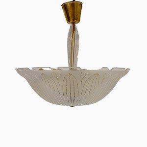 Lámpara de techo sueca grande de vidrio texturizado de Carl Fagerlund para Orrefors, años 50