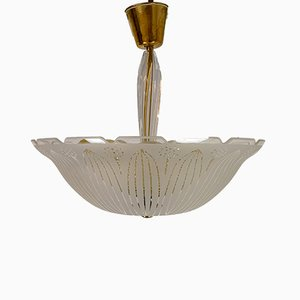 Large Swedish Textured Glass Ceiling Lamp by Carl Fagerlund for Orrefors, 1950s