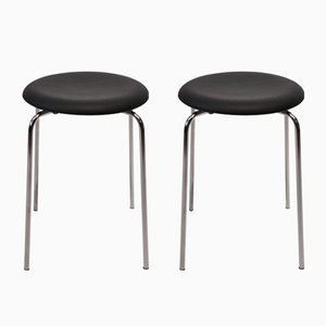 Vintage Black Leather Dot Stools by Arne Jacobsen for Fritz Hansen, 1971, Set of 2