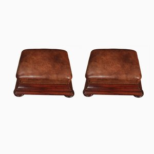 Antique Mahogany & Leather Footstools, 1830s, Set of 2