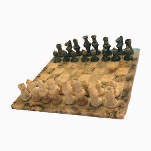 Juego de ajedrez italiano Mid-Century de mármol, años 50
