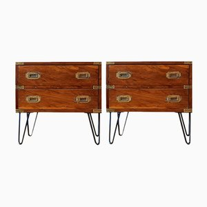 Danish Walnut & Brass Nightstands, 1960s, Set of 2