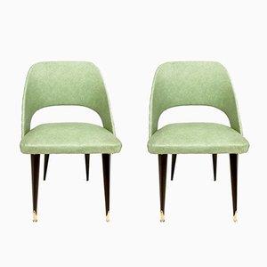 Beistellstühle mit grünem Sitz aus Skai & ebonisiertem Holzgestell, 1950er, 2er Set