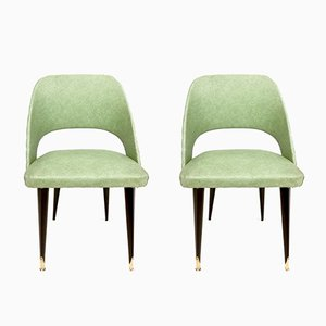 Green Skai Side Chairs with Ebonized Wood Legs, 1950s, Set of 2