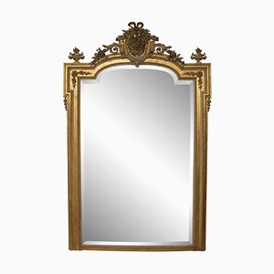 Large Antique Gilded Overmantle Wall Mirror, 1860s