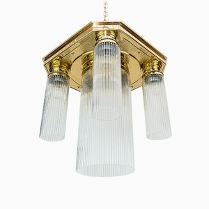 Art Nouveau Ceiling Lamp with Glass Cylinders, 1908