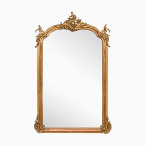 Large French Crested Overmantle Mirror, 1860s