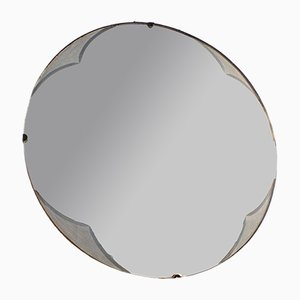 Round Mid-Century Frameless Mirror