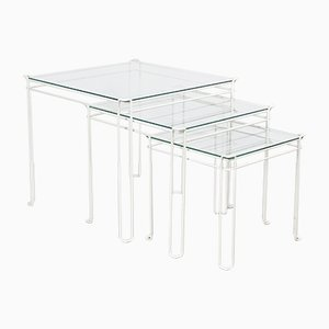 Mid-Century French White Metal & Glass Isocele Nesting Tables by Max Sauze for Atrow, 1970s