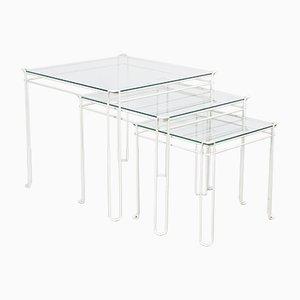 Tavolini ad incastro Isoscele Mid-Century in metallo bianco e vetro di Max Sauze per Atrow, Francia, anni '70