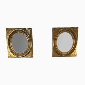 19th Century French Gilt & Gesso Oval Mirrors, Set of 2