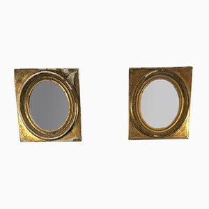 Ovale französische Spiegel mit vergoldetem Gipsrahmen, 19. Jh., 2er Set