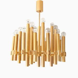 Brutalist 25-Light Chandelier by Angelo Brotto for Esperia, 1970s