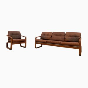 Danish Teak and Leather Sofa & Armchair Set from Möbelfabrik Holstebro, 1970s