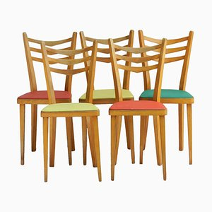 Mid-Century French Dining Chairs, Set of 5