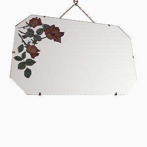 Espejo vintage sin marco con borde biselado y detalles florales, años 50