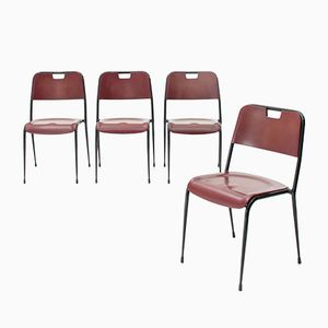 Mid-Century Italian Metal and Red Resin Chairs from Rima, 1950s, Set of 4