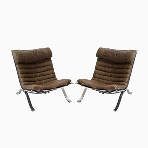 Leather & Steel Ari Lounge Chairs by Arne Norell, 1960s, Set of 2