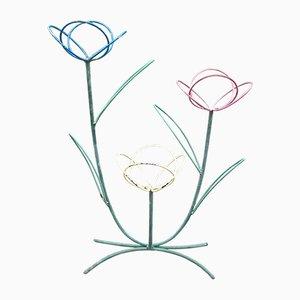 Soporte para plantas floral de metal, años 50