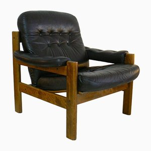 Danish Oak & Leather Easy Chair, 1970s