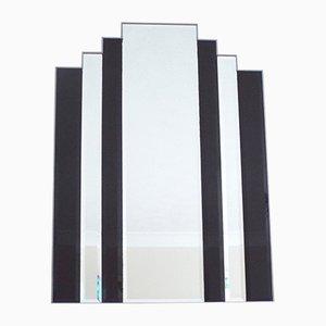 Schwarz gefärbter Hollywood Regency Vintage Spiegel