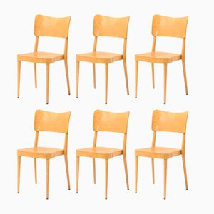 Beech & Plywood Stackable Dining Chairs from Horgenglarus, 1960s, Set of 6