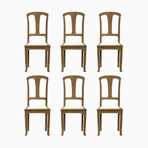 Art Nouveau French Arts and Crafts Oak Dining Chairs, 1900s, Set of 6