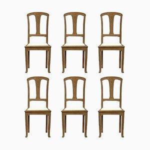 Französische Arts & Crafts Esszimmerstühle aus Eiche im Jugendstil, 1900er, 6er Set