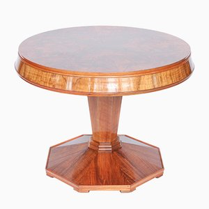 Round Art Deco Walnut Coffee Table, 1930s