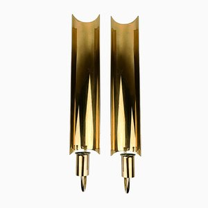 Brass Reflex Wall Candleholders by Pierre Forsell for Skultuna, 1960s, Set of 2