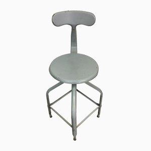Industrieller Vintage Stahlhocker von Chaises Nicolle, 1950er
