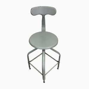 Vintage Industrial Steel Stool or Studio Chair from Chaises Nicolle, 1950s