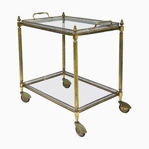 Mid-Century Barwagen mit vergoldetem Metallgestell