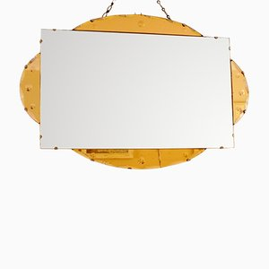 Vintage Etched & Colored Glass Mirror, 1930s