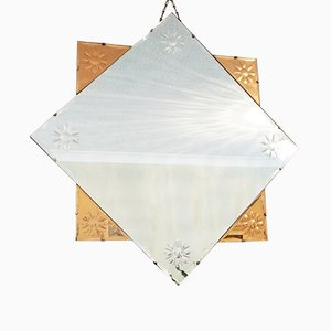 Large Vintage Colored Glass Wall Mirror, 1930s
