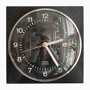 Schwarze Mid-Century Uhr von Krups, 1960er