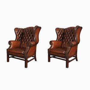 Large Cigar Brown Leather Chesterfield Wing Chairs, 1920s, Set of 2