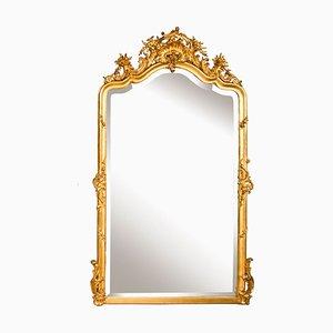 Espejo francés antiguo dorado, década de 1860
