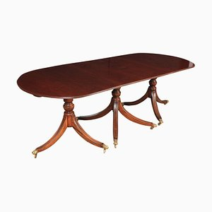 Large Triple Pillar Mahogany Dining Table, 1920s