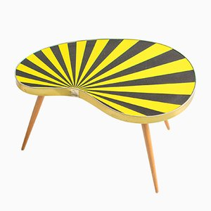 Kidney Shaped Striped Formica Side Table, 1960s