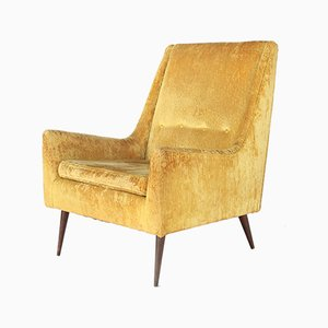 High Back Yellow-Gold Lounge Chair, 1960s