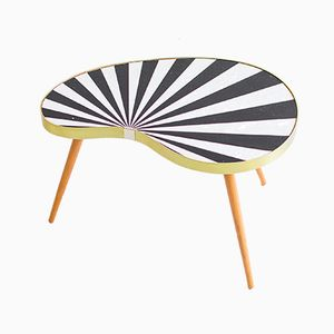 Black & White Striped Kidney Table, 1960s