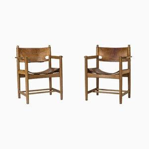 Vintage Modell 3238 Hunting Stühle von Børge Mogensen, 2er Set