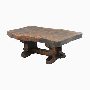Mid-Century French Olive Wood Trestle Coffee Table