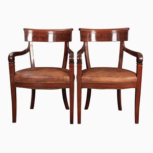 Mahogany & Leather Library Armchairs, 1820s, Set of 2