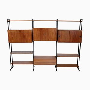 Large Italian Teak & Iron Wall Unit, 1960s