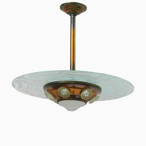 Art Deco Copper Ezan Glass UFO Pendant Light, 1930s